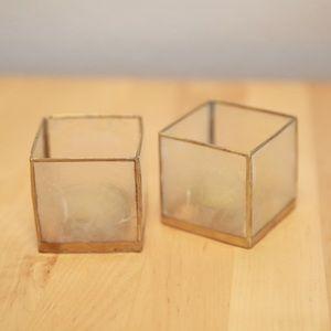 Set of TWO White square tapiz candleholders